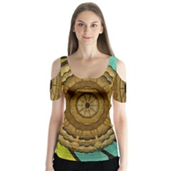 Kaleidoscope Dream Illusion Butterfly Sleeve Cutout Tee