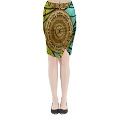 Kaleidoscope Dream Illusion Midi Wrap Pencil Skirt