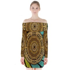 Kaleidoscope Dream Illusion Long Sleeve Off Shoulder Dress
