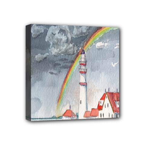 Watercolour Lighthouse Rainbow Mini Canvas 4  X 4