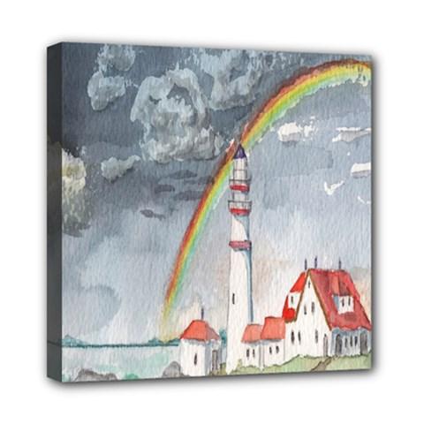 Watercolour Lighthouse Rainbow Mini Canvas 8  X 8