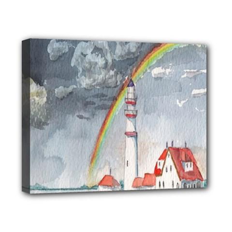 Watercolour Lighthouse Rainbow Canvas 10  x 8