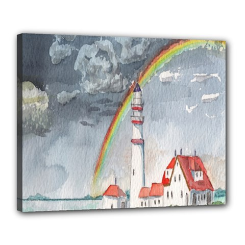 Watercolour Lighthouse Rainbow Canvas 20  X 16
