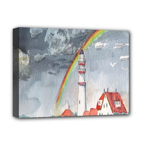 Watercolour Lighthouse Rainbow Deluxe Canvas 16  X 12