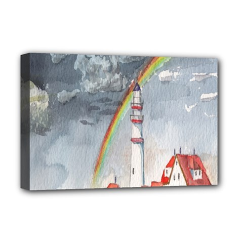 Watercolour Lighthouse Rainbow Deluxe Canvas 18  X 12