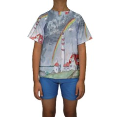 Watercolour Lighthouse Rainbow Kids  Short Sleeve Swimwear