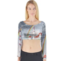 Watercolour Lighthouse Rainbow Long Sleeve Crop Top