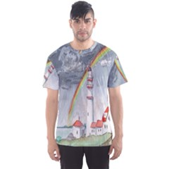 Watercolour Lighthouse Rainbow Men s Sport Mesh Tee