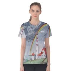 Watercolour Lighthouse Rainbow Women s Cotton Tee
