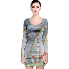 Watercolour Lighthouse Rainbow Long Sleeve Bodycon Dress