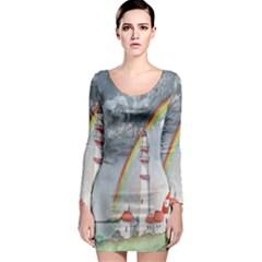 Watercolour Lighthouse Rainbow Long Sleeve Bodycon Dress