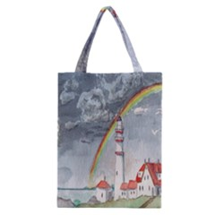 Watercolour Lighthouse Rainbow Classic Tote Bag