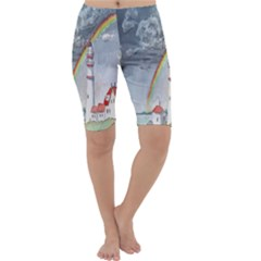 Watercolour Lighthouse Rainbow Cropped Leggings
