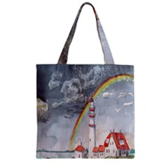 Watercolour Lighthouse Rainbow Zipper Grocery Tote Bag
