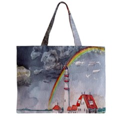 Watercolour Lighthouse Rainbow Zipper Mini Tote Bag