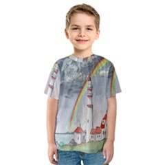 Watercolour Lighthouse Rainbow Kids  Sport Mesh Tee