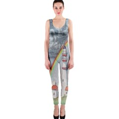 Watercolour Lighthouse Rainbow Onepiece Catsuit