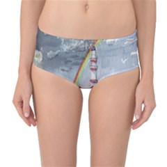 Watercolour Lighthouse Rainbow Mid Waist Bikini Bottoms