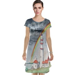 Watercolour Lighthouse Rainbow Cap Sleeve Nightdress