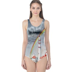 Watercolour Lighthouse Rainbow One Piece Swimsuit