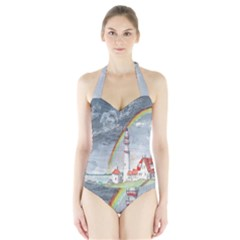 Watercolour Lighthouse Rainbow Halter Swimsuit