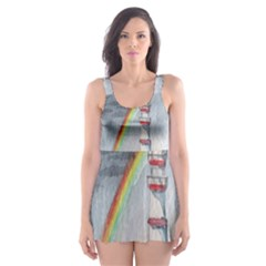 Watercolour Lighthouse Rainbow Skater Dress Swimsuit