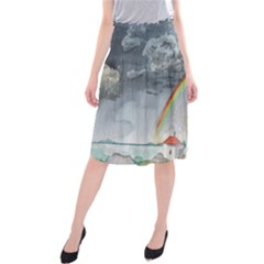 Watercolour Lighthouse Rainbow Midi Beach Skirt