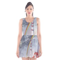Watercolour Lighthouse Rainbow Scoop Neck Skater Dress