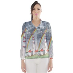 Watercolour Lighthouse Rainbow Wind Breaker (women)