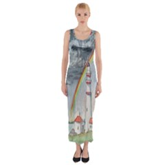 Watercolour Lighthouse Rainbow Fitted Maxi Dress