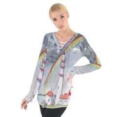 Watercolour Lighthouse Rainbow Women s Tie Up Tee