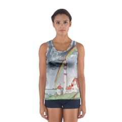 Watercolour Lighthouse Rainbow Women s Sport Tank Top