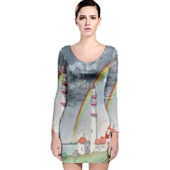 Watercolour Lighthouse Rainbow Long Sleeve Velvet Bodycon Dress