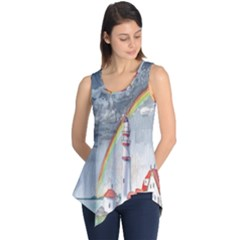 Watercolour Lighthouse Rainbow Sleeveless Tunic