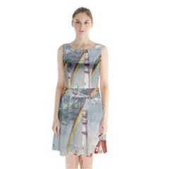 Watercolour Lighthouse Rainbow Sleeveless Chiffon Waist Tie Dress