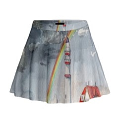 Watercolour Lighthouse Rainbow Mini Flare Skirt