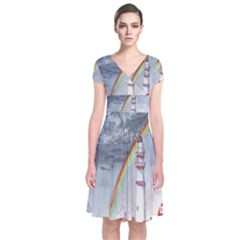 Watercolour Lighthouse Rainbow Short Sleeve Front Wrap Dress