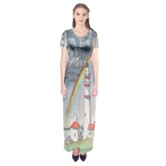 Watercolour Lighthouse Rainbow Short Sleeve Maxi Dress