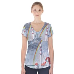 Watercolour Lighthouse Rainbow Short Sleeve Front Detail Top