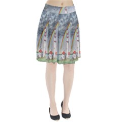 Watercolour Lighthouse Rainbow Pleated Skirt