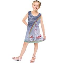 Watercolour Lighthouse Rainbow Kids  Tunic Dress