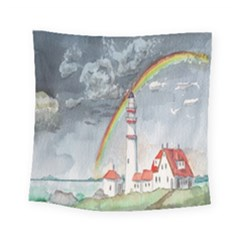 Watercolour Lighthouse Rainbow Square Tapestry (small)
