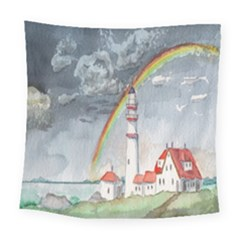 Watercolour Lighthouse Rainbow Square Tapestry (large)