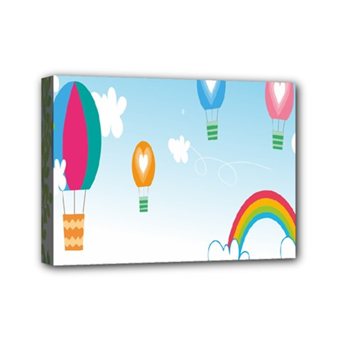 Landscape Sky Rainbow Garden Mini Canvas 7  X 5