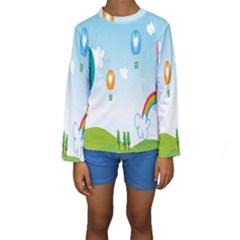 Landscape Sky Rainbow Garden Kids  Long Sleeve Swimwear