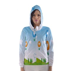 Landscape Sky Rainbow Garden Hooded Wind Breaker (women)