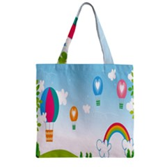 Landscape Sky Rainbow Garden Zipper Grocery Tote Bag