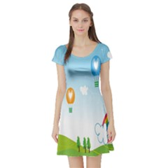 Landscape Sky Rainbow Garden Short Sleeve Skater Dress