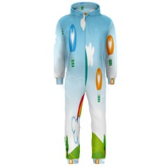 Landscape Sky Rainbow Garden Hooded Jumpsuit (men)