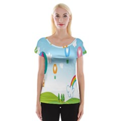 Landscape Sky Rainbow Garden Women s Cap Sleeve Top